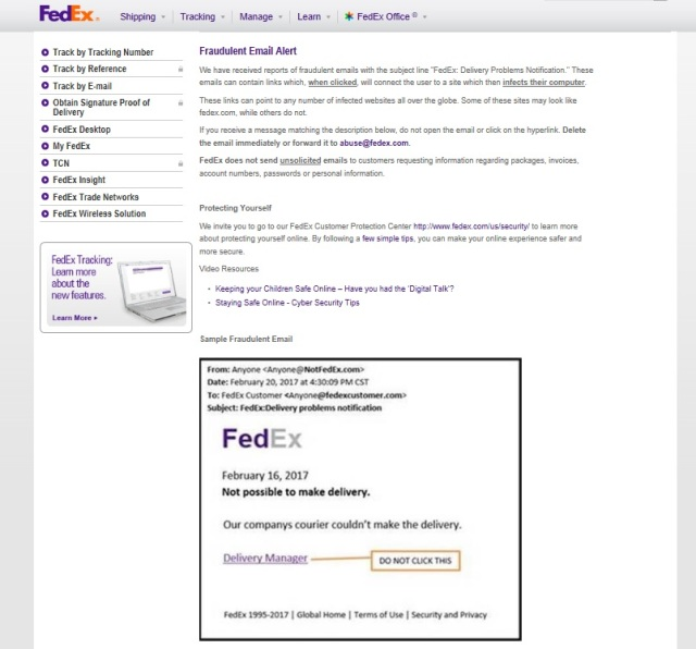 FedEx Website for Fraudulent email alert